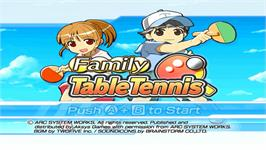 Title screen of Family Table Tennis on the Nintendo WiiWare.