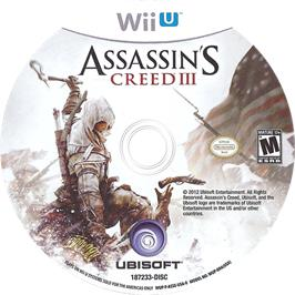Artwork on the CD for Assassin's Creed III on the Nintendo Wii U.