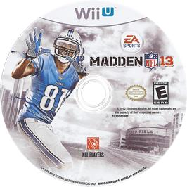 Artwork on the CD for Madden NFL 13 on the Nintendo Wii U.