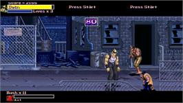 In game image of Final Fight Gold - Champion Edition on the OpenBOR.