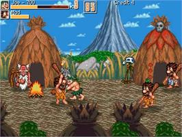 In game image of Joe and Mac - Caveman Ninja on the OpenBOR.