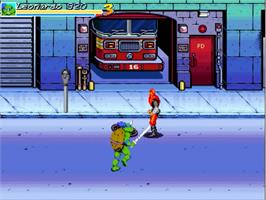 In game image of TMNT Red Sky Battle on the OpenBOR.