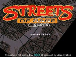 Title screen of Streets Of Rage XXX on the OpenBOR.