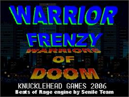 Title screen of Warrior Frenzy on the OpenBOR.