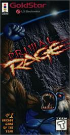 Box cover for Primal Rage on the Panasonic 3DO.