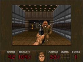 In game image of Doom on the Panasonic 3DO.