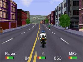 In game image of Road Rash on the Panasonic 3DO.