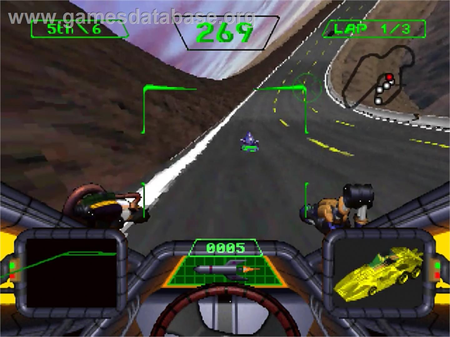In game image of Crash 'n' Burn on the Panasonic 3DO.