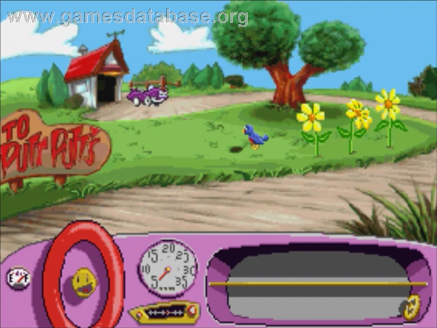 In game image of Putt-Putt Joins the Parade on the Panasonic 3DO.