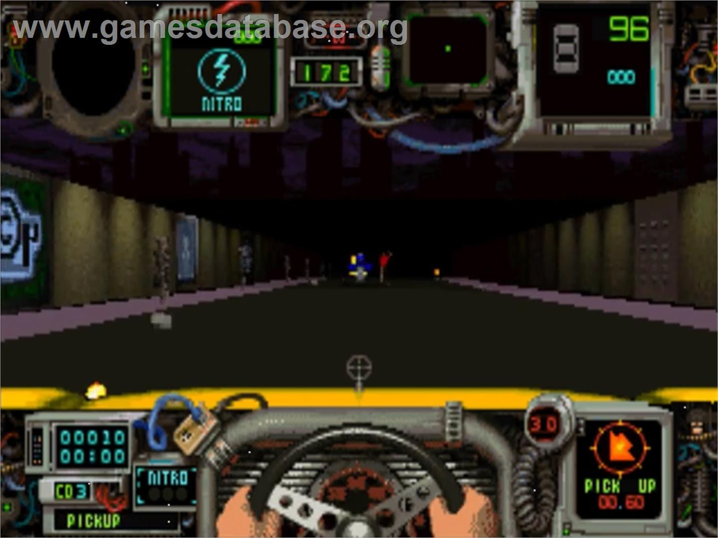 In game image of Quarantine on the Panasonic 3DO.