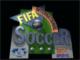 Title screen of FIFA International Soccer on the Panasonic 3DO.