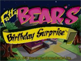 Title screen of Fatty Bear's Birthday Surprise on the Panasonic 3DO.