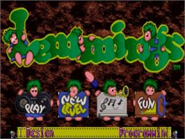 Title screen of Lemmings on the Panasonic 3DO.