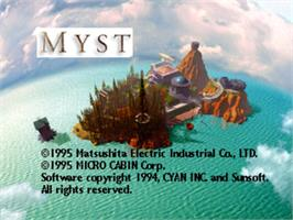 Title screen of Myst on the Panasonic 3DO.