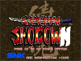 Title screen of Samurai Shodown / Samurai Spirits on the Panasonic 3DO.