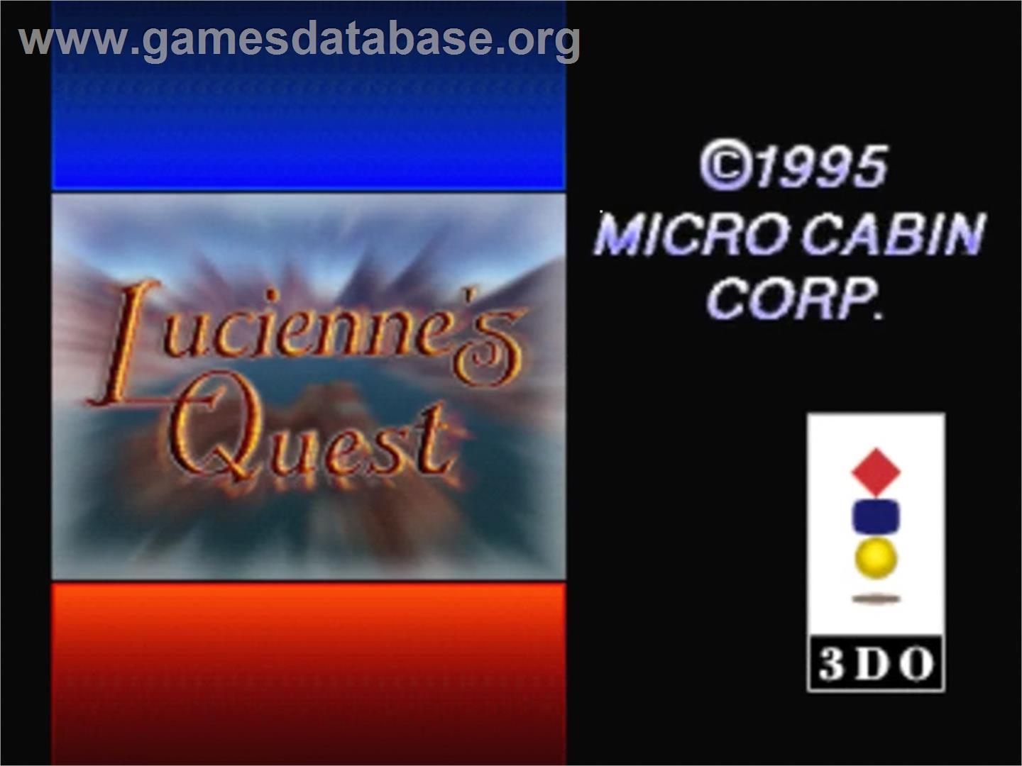Title screen of Lucienne's Quest on the Panasonic 3DO.
