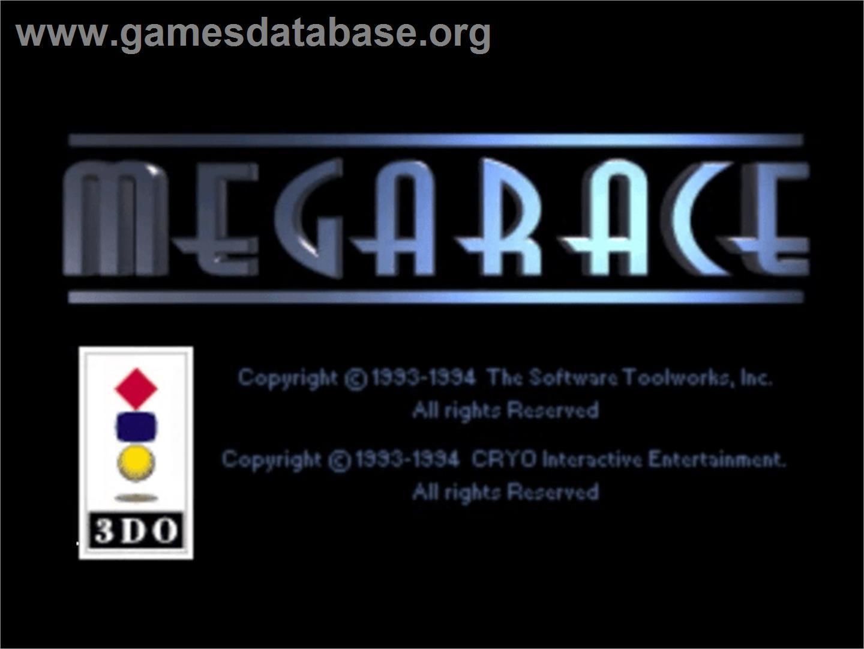 Title screen of MegaRace on the Panasonic 3DO.
