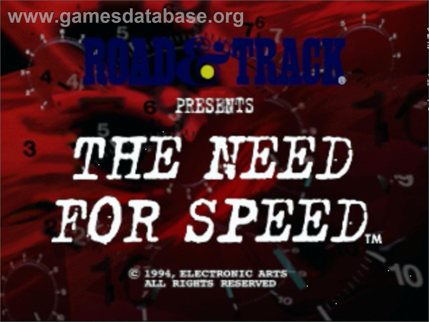 Title screen of Need for Speed on the Panasonic 3DO