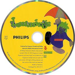 Artwork on the Disc for Lemmings on the Philips CD-i.
