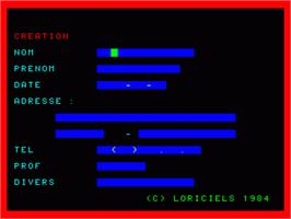 In game image of Carnet D'Adresses on the Philips VG 5000.