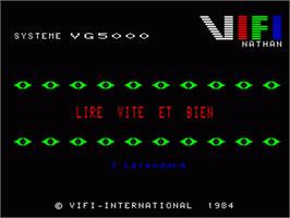 In game image of Lire Vite Et Bien on the Philips VG 5000.