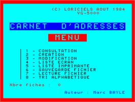 Title screen of Carnet D'Adresses on the Philips VG 5000.