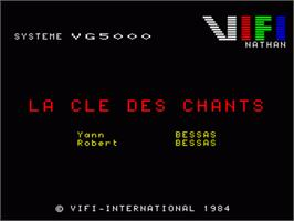 Title screen of Cle Des Chants, La on the Philips VG 5000.
