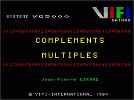 Title screen of Complements Et Multiples on the Philips VG 5000.