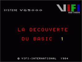 Title screen of Decouverte Du Basic - Volume 1 on the Philips VG 5000.