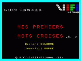 Title screen of Mes Premiers Mots Croises - Volume 2 on the Philips VG 5000.