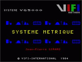 Title screen of Systeme Metrique on the Philips VG 5000.