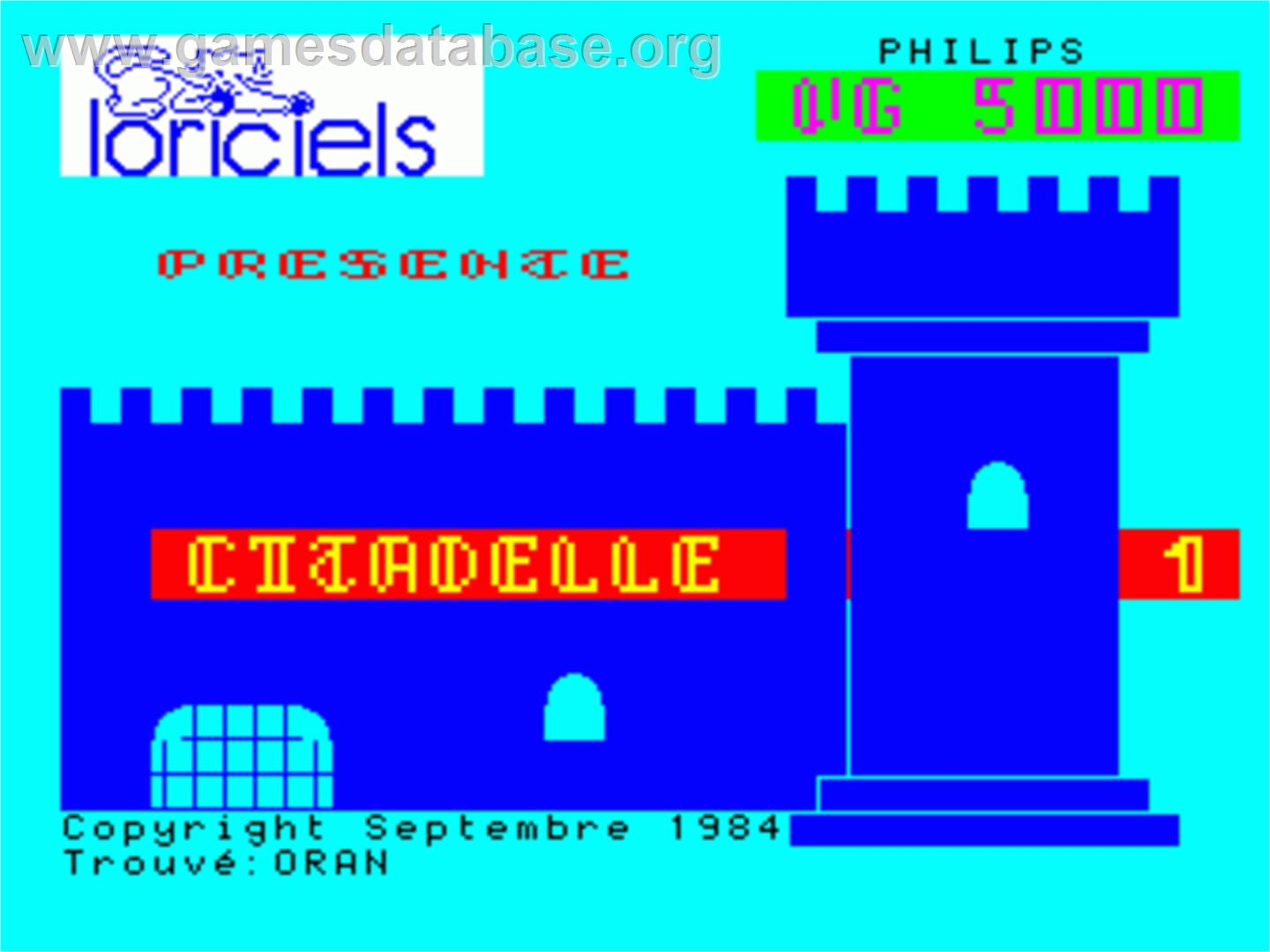 Citadelle - Philips VG 5000 - Artwork - Title Screen