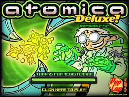 Title screen of Atomica Deluxe on the PopCap.