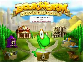Title screen of Bookworm Adventures Deluxe on the PopCap.