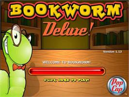 Title screen of Bookworm Deluxe on the PopCap.