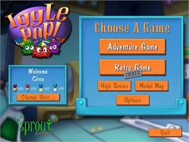 Title screen of Iggle Pop Deluxe on the PopCap.