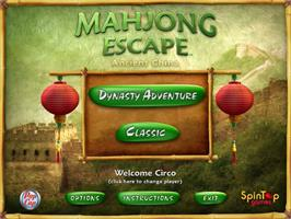 Title screen of Mahjong Escape Ancient China on the PopCap.