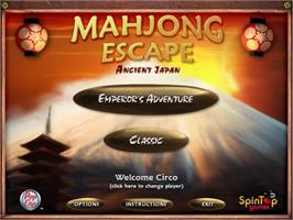 Title screen of Mahjong Escape Ancient Japan on the PopCap.
