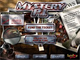 Title screen of Mystery PI - The Lottery Ticket on the PopCap.