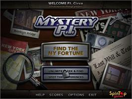 Title screen of Mystery PI - The New York Fortune on the PopCap.