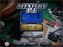 Title screen of Mystery PI - The Vegas Heist on the PopCap.