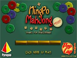Title screen of NingPo MahJong Deluxe on the PopCap.