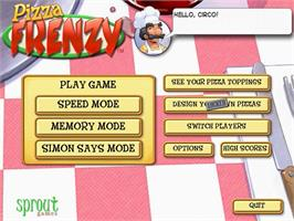 Title screen of Pizza Frenzy on the PopCap.