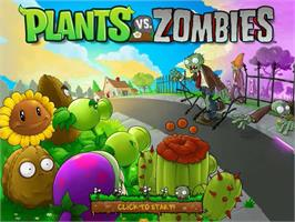 Title screen of Plants vs Zombies on the PopCap.