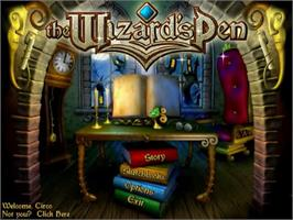 Title screen of The Wizard's Pen on the PopCap.