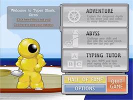 Title screen of Typer Shark Deluxe on the PopCap.