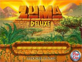 Title screen of Zuma Deluxe on the PopCap.