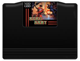 Cartridge artwork for Robo Army on the SNK Neo-Geo AES.
