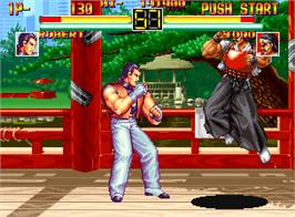 In game image of Art of Fighting on the SNK Neo-Geo AES.