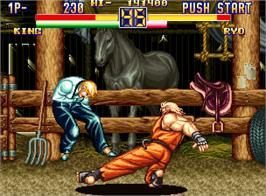 In game image of Art of Fighting 2 on the SNK Neo-Geo AES.